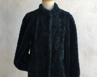 Vintage faux fur knobby short jacket lined by Carol Horn teal blue sz 8 S