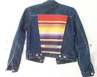 Blue DENIM Jacket ~ Vintage 1940's Saltillo back Panel ~ Women's Small ~ Colorful Stripes ~ ooak ~ Wool and Denim ~ Southwestern style