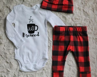 Baby Boy Outfit, Baby Boy Take Home Outfit, Baby Boy Leggings, Just Brewed Outfit,