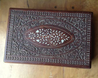 Large Carved Wooden Box, Hinged Jewelry Box, Large, Inlay, Inlaid, Made in India, Purple Felt Interior