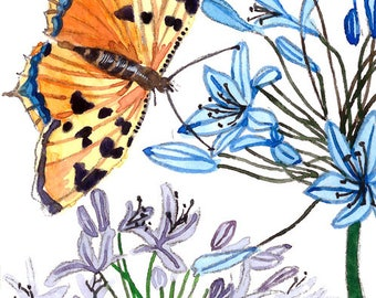 ACEO Limited Editions 1/25- Butterfly in her garden, Flower art print from a watercolor ACEO painting by Anna Lee, Gift idea for her