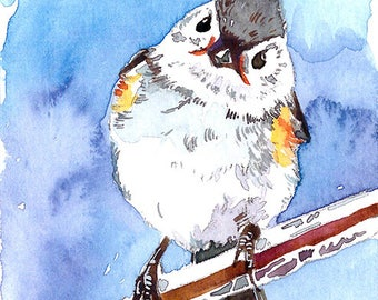 ACEO Limited Edition 1/25- Frosty morning, Titmouse, Cute bird art print of an original watercolor, Gift for bird lovers