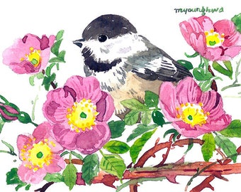 ACEO Limited Edition 3/25- Melody for a memory, Cute bird art print of an original watercolor, Gift for bird lovers