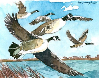 ACEO Limited Edition 1/25- A long trip, Canada geese art print of an original watercolor, Gift for bird lovers