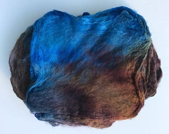 Hand Dyed Silk Fiber Mawata Silk Hankies for Felting, Spinning, Knitting. BLUE, BROWN, GREY. Felt, Feltmaking, Nunofelting, Handdyed Fiber