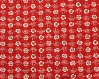 Cotton Fabric / Red Cotton Fabric / Red Floral Fabric / Cranston Print Works / Millworth Fabrics / Red Quilting Fabric / Quilting Fabric