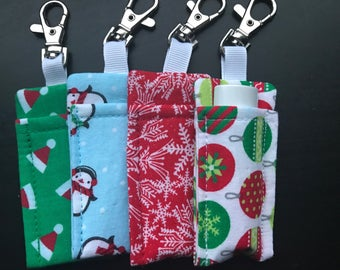 Sew Sassy Holiday Lip Balm Holder with Clasp - Fits Chapstick and Rodan and Fields Lip Shield - Wonderful R+F gift and stocking stuffer!