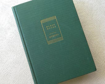 Bleak House Charles Dickens Art Deco Hardback Green Cloth Gilded Cover Walter Black 1941 Edition Illustrations Christmas Gift Holiday Decor