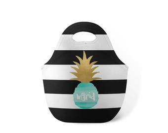 Personalized Lunch Tote - Black and White Stripe Pineapple - Custom Lunch tote for Children