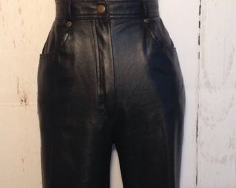Vintage 80s PVC Matte Black Faux Leather High Waisted Pants Vegan rave club kid grunge Cotton Lining Pam Sloane