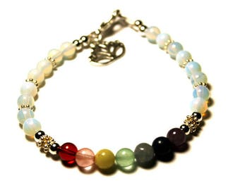 Chakra Genuine Gemstone Bracelet with Sterling Silver Spacers and Lotus Charm Meditation Bracelet Karma Bracelet Yoga Bracelet Opalite Beads