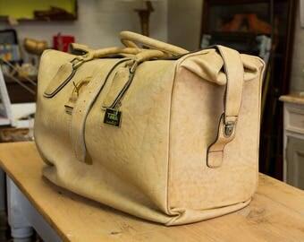 Unique Leather Bag, Vintage luggage, leather, Toko label, 20342/55, Slovinian, European, real leather, interesting storage bag, stylish bag