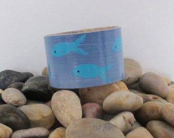 Blue Fish Painted Cuff Bracelet, made from Recycled Linoleum