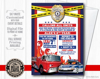 Police and Firefighter Customized Printable Invitation
