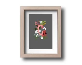 Personalised Letter C AUSTRALIAN FLOWERS illustration printable download Australiana floral
