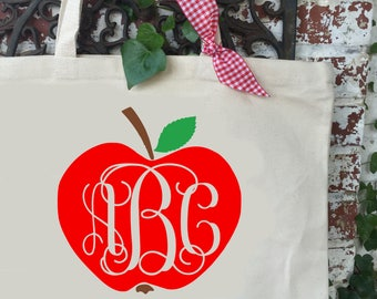 Apple with Monogram Large Canvas Tote Bag - Teacher's Shoulder Tote - Teacher Reusable Shopping Bag - Book Bag - Teacher Gift Idea