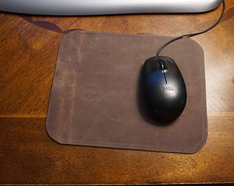 Medium and Dark Brown Reversible Leather Mouse Pad