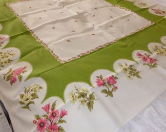 """Vintage Heavy Cotton Tablecloth with Chartreuse Scalloped Border Mixed Flowers 1960's/70's  50""""L x 48""""W"""