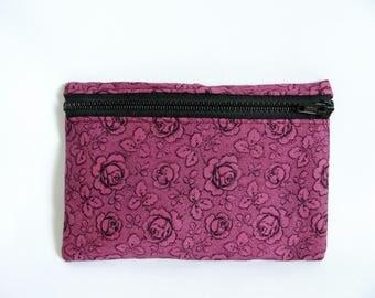 Medium Pouch- Rose floral print cotton