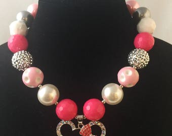 Girl's Bubble Gum Beaded Necklace, Mouse Necklace, Red, Pink, Pearl, Rhinestones, Photo Shoot, Dress Up