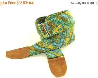 ON SALE this week only Ocean Paisley Guitar Strap Blue and Green - Musical instrument Strap