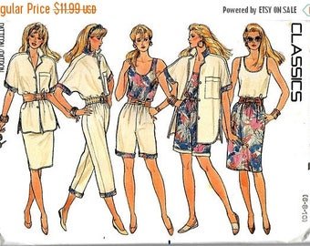 ON SALE Butterick 4929 Misses Shirt And Reversible Top, Skirt, Pants And Shorts Pattern, 6-8-10, UNCUT