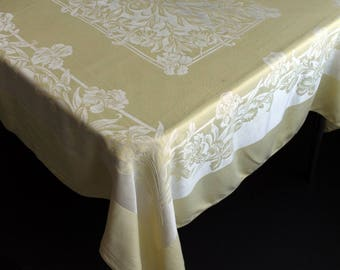 Vintage  Damask Table Cloth Butter Yellow and White Iris Floral Pattern 38x28