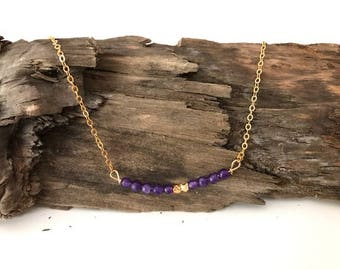 Gold, Beaded, Purple, Necklace