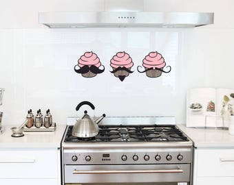 Three Mustache Cupcakes - Wall Decal Sticker, Cupcake Decal, Mustache Decal, Mustache Cupcake, Kitchen Wall Sticker, Funny Wall Decal