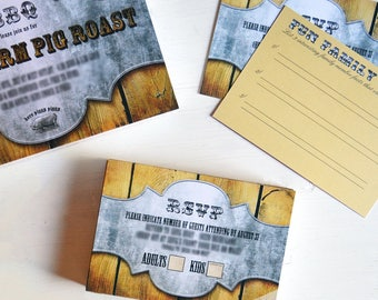 Rustic Barn Style RSVP Cards - RSVP Inserts - Response Cards - Country Party - Country Wedding - Family Reunion - Picnic