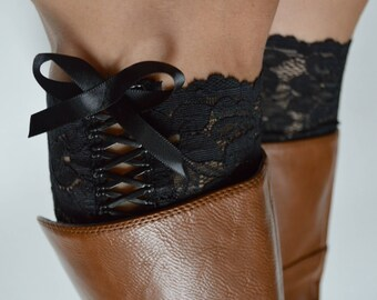 Bow tie up Black floral Lace Boot cuffs,  Tie up Boot Lace accessories