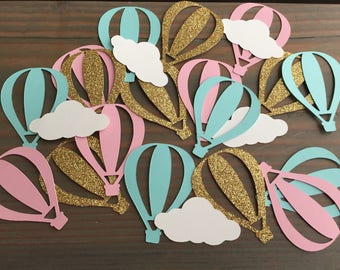 50 hot air balloon & cloud confetti, gold glitter, robin's egg/mint, and pink baby shower, birthday party, party decorations, up and away