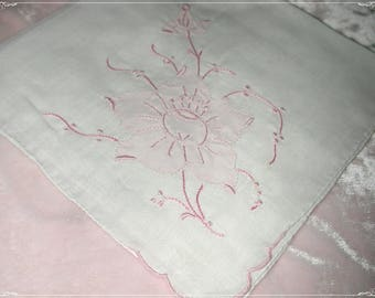 No. 200 ANTIQUE Swiss Cotton Hand Embroidered Handkerchief, Pink Embroidery No. 49