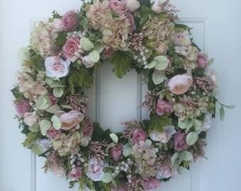 Pink Roses, Hydrangea & Ranunculus with Lush Greens Wreath