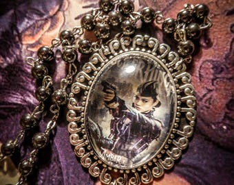Chaplet Rosary beads black hematite cameo Mexican Sugar Skulls calavera gypsy Bohemian ♰Sucker Punch Amber♰