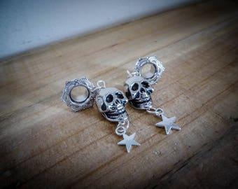 Plug expander 8 mm silver plated brass lace calavera dia los muertos ♠Skull♠