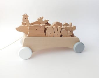 Wooden Pull Toy Wagon, Toy Cart Trolley Pull Toy, Toddler toy, Wooden cart, Learning toy, Wood toy, Waldorf toy,Toddler gift,Kids room decor