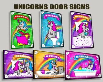 Unicorn Door signs of your choice,Toilet, Bathroom,Laundry,Bedroom,Office,signs,gift ideas,rainbow,home decor,door decor,colorful,cute,Horn