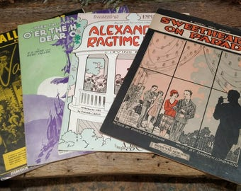 Vintage Lot of Sheet Music / Great Graphics / Ephemera / Irving Berlin / Rudy Vallee and Others / 1910s / 1930s / Lot of Four