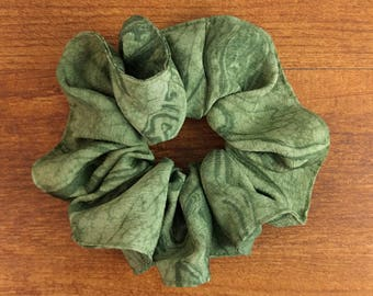 Silk hair scrunchie tie made with vintage kimono silk - forest green swirl tie dye