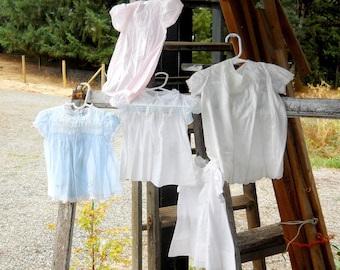 French Country Baby Dresses Farmhouse Vintage 1950s Mid Century White Cotton Dress Lot Five Summer Baby Clothes
