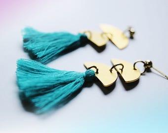 Boho tassel earrings / brass earrings / half moon earrings / pale pink tassel earrings