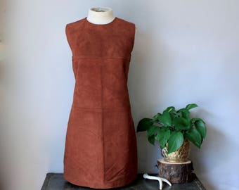 60s Mod Dress Leather Mini Dress Suede Dress Leather Dress Short Leather Dress A Line Shift Dress Brown Leather SZ 11 Boho 60s Gogo Dress