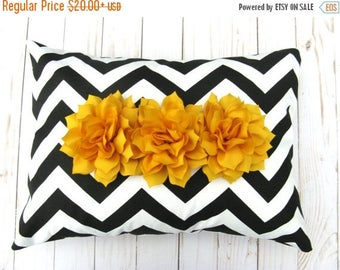 15% Off Sale BLACK PILLOW Flower Pillow, Floral Pillow, Flower Pillow cover, Yellow ,Decorative Pillows - Accent Pillow - Cushion Cover - Ch
