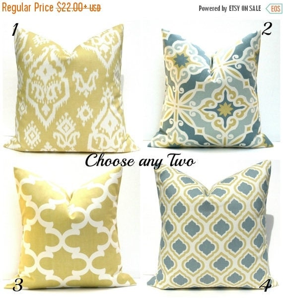 15 off sale decorative pillow covers gold pillow grey yellow pillows two pillows blue gold - Decorative Pillows For Couch