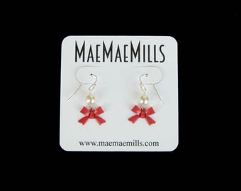 Red Enamel Bow and Swarovski Pearl Petite Dangle Earrings