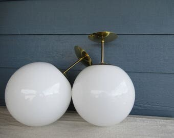 Vintage White Glass Ceiling Lamp with Brass Fitting, Globe Style Ceiling Light, Mid Century Modern Lamp
