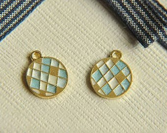 6pcs alloy Pattern lattice round earrings pendant