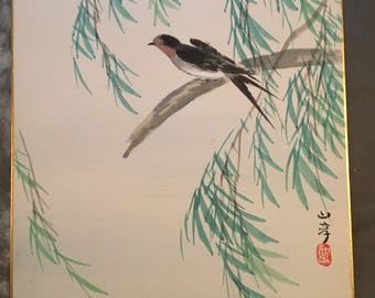 Japanese painting on Shikishi, bird in willow.