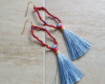 Blue Tassel Loop Beaded Earring Sky Blue Tassle Earrings Glass Seed Bead Loop